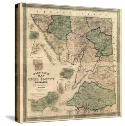 1858, Cecil County Wall Map, Maryland, United States--Stretched Canvas Print