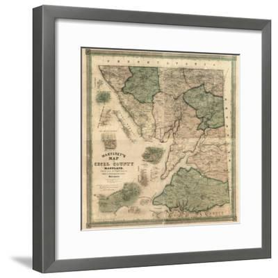 1858, Cecil County Wall Map, Maryland, United States--Framed Giclee Print