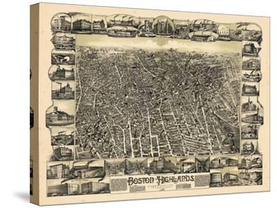 1888, Boston Bird's Eye View of the Highlands, Massachusetts, United States--Stretched Canvas Print