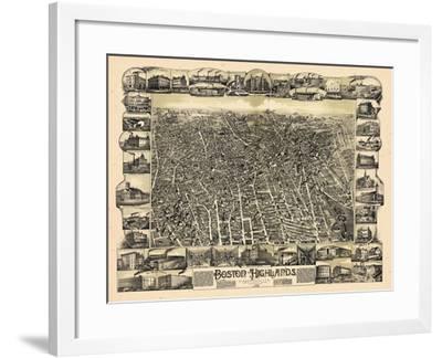 1888, Boston Bird's Eye View of the Highlands, Massachusetts, United States--Framed Giclee Print
