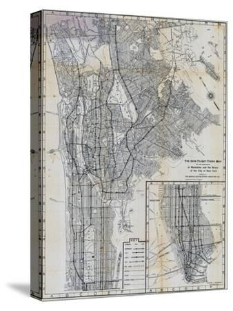 1941, Manhattan and The Bronx Map, New York, United States--Stretched Canvas Print