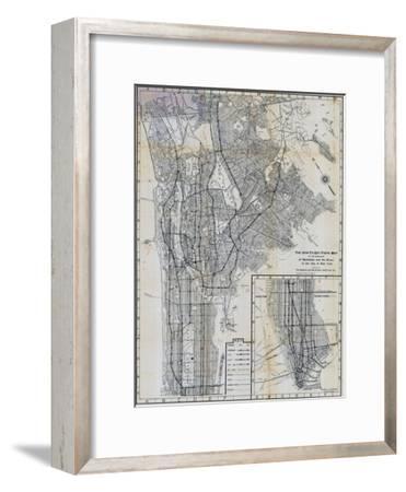 1941, Manhattan and The Bronx Map, New York, United States--Framed Premium Giclee Print