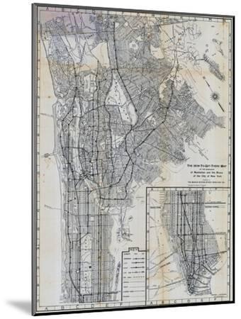 1941, Manhattan and The Bronx Map, New York, United States--Mounted Premium Giclee Print