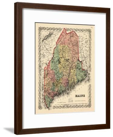 1855, Maine State Map 1855, Maine, United States--Framed Giclee Print