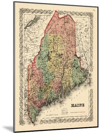 1855, Maine State Map 1855, Maine, United States--Mounted Giclee Print