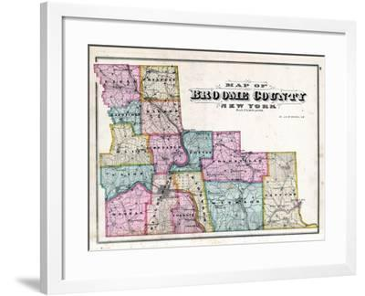Broome County Map--Framed Giclee Print