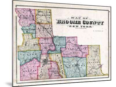Broome County Map--Mounted Giclee Print