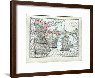 1873, Michigan, Wisconsin, Minnesota, Iowa, USA--Framed Giclee Print
