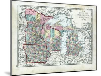 1873, Michigan, Wisconsin, Minnesota, Iowa, USA--Mounted Giclee Print