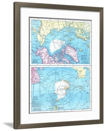 1913, North Pole, South Pole, North and South Polar Regions--Framed Giclee Print