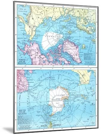 1913, North Pole, South Pole, North and South Polar Regions--Mounted Giclee Print