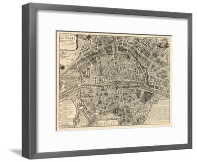 Paris, France, Vintage Map--Framed Premium Giclee Print