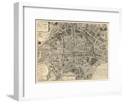 Paris, France, Vintage Map--Framed Giclee Print