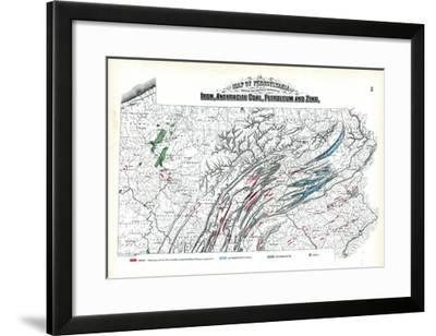 1872, Iron, Anthracite Coal, Petroleum and Zinc Map, Pennsylvania, United States--Framed Giclee Print
