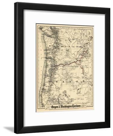 1880, Oregon and Washington State Map, Oregon, United States--Framed Giclee Print