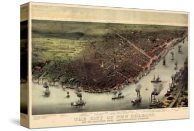 1885, New Orleans Bird's Eye View, Louisiana, United States--Stretched Canvas Print