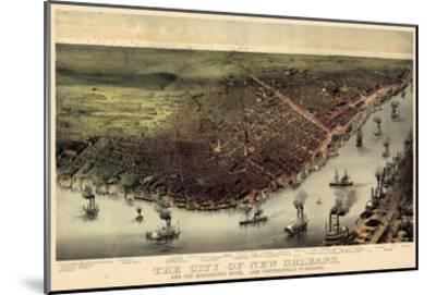 1885, New Orleans Bird's Eye View, Louisiana, United States--Mounted Giclee Print