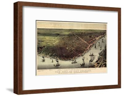 1885, New Orleans Bird's Eye View, Louisiana, United States--Framed Giclee Print