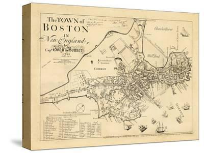 1722, Boston Captain John Bonner Survey Reprinted 1867, Massachusetts, United States--Stretched Canvas Print