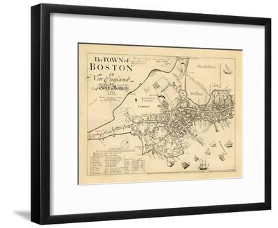 1722, Boston Captain John Bonner Survey Reprinted 1867, Massachusetts, United States--Framed Giclee Print