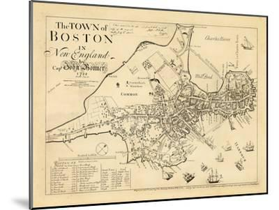 1722, Boston Captain John Bonner Survey Reprinted 1867, Massachusetts, United States--Mounted Giclee Print