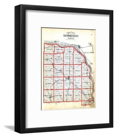 1907, County Outline Map, Nebraska, United States--Framed Giclee Print
