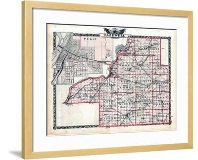 1876, Tazewell County Map, Illinois, United States--Framed Giclee Print