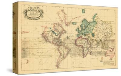 1708, World, Mercator Projection--Stretched Canvas Print