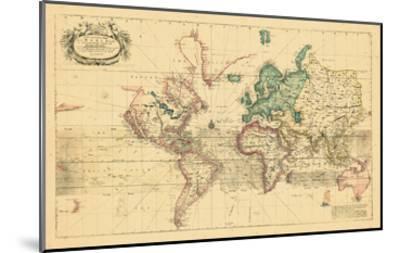 1708, World, Mercator Projection--Mounted Giclee Print