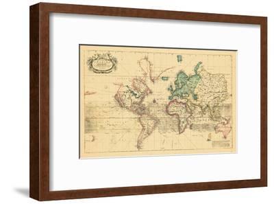 1708, World, Mercator Projection--Framed Giclee Print
