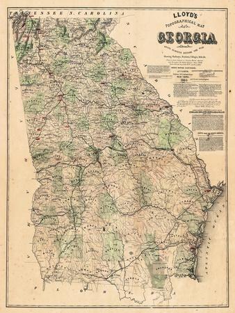 1864, Georgia State Map, Georgia, United States--Stretched Canvas Print