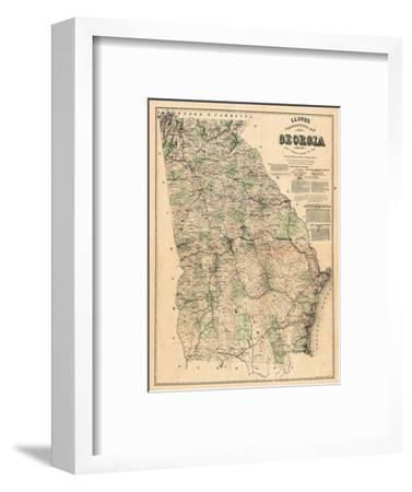 Map Of Georgia Plantations.1864 Georgia State Map Georgia United States Giclee Print By Art Com