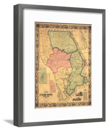 1858, Harford County Wall Map, Maryland, United States--Framed Giclee Print