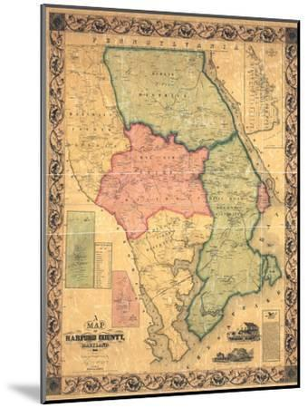 1858, Harford County Wall Map, Maryland, United States--Mounted Giclee Print