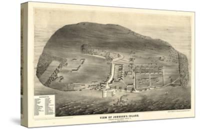 1865, Johnson's Island 1865c Bird's Eye View, Ohio, United States--Stretched Canvas Print