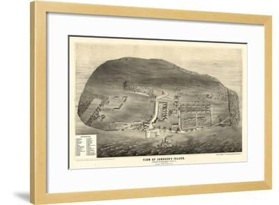 1865, Johnson's Island 1865c Bird's Eye View, Ohio, United States--Framed Giclee Print