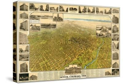 1908, Denver Bird's Eye View, Colorado, United States--Stretched Canvas Print