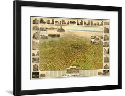 1908, Denver Bird's Eye View, Colorado, United States--Framed Giclee Print