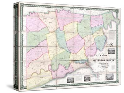 1852, Jefferson County - WV formerly VA Wall Map, West Virginia, United States--Stretched Canvas Print
