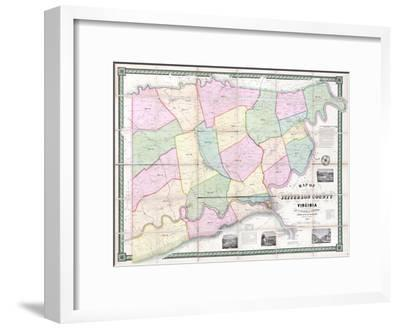 1852, Jefferson County - WV formerly VA Wall Map, West Virginia, United States--Framed Giclee Print