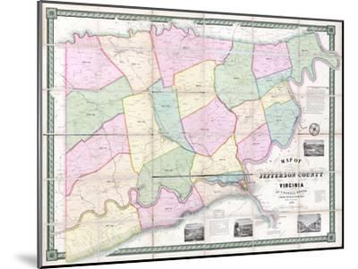 1852, Jefferson County - WV formerly VA Wall Map, West Virginia, United States--Mounted Giclee Print