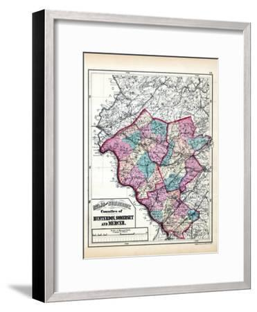 1873, Hunterdon, Somerset and Mercer Counties Map, New Jersey, United States--Framed Giclee Print
