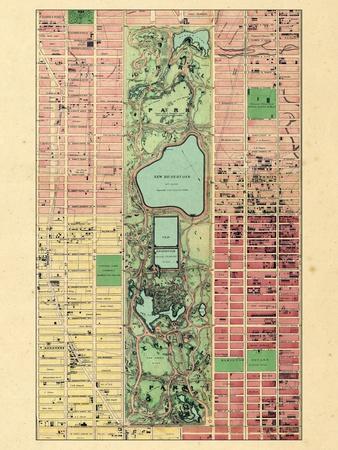 1867, New York City, Central Park Composite, New York, United States--Framed Premium Giclee Print