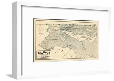 1925, Seattle Bird's Eye View, Washington, United States--Framed Giclee Print