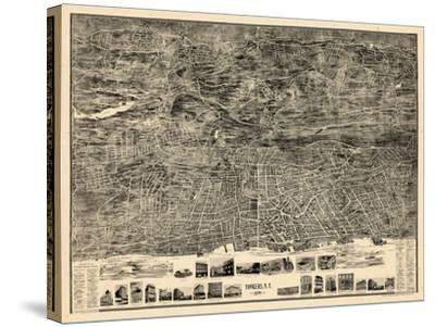 1899, Yonkers 1899 Bird's Eye View 36x47, New York, United States--Stretched Canvas Print