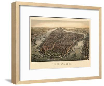 1873, New York City, 1873, Bird's Eye View, New York, United States--Framed Premium Giclee Print