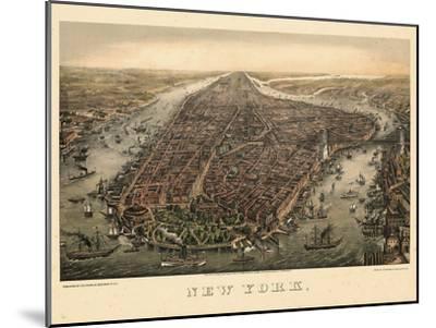 1873, New York City, 1873, Bird's Eye View, New York, United States--Mounted Giclee Print