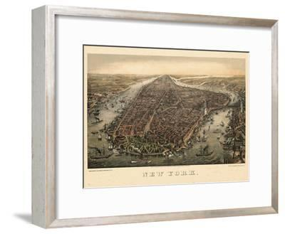 1873, New York City, 1873, Bird's Eye View, New York, United States--Framed Giclee Print