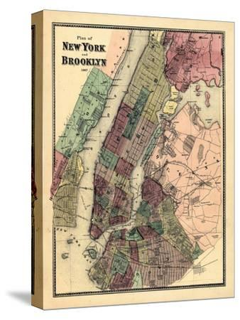 1867, New York & Brooklyn Plan, New York, United States--Stretched Canvas Print