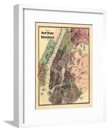 1867, New York & Brooklyn Plan, New York, United States--Framed Premium Giclee Print